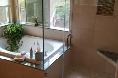 Limestone and granite master bath